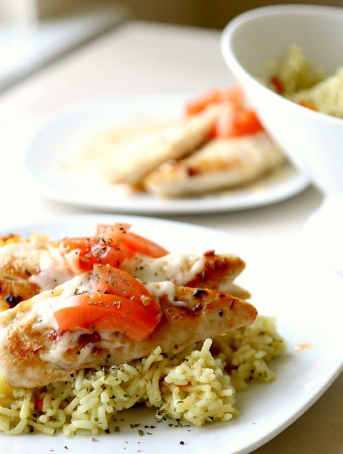 Creamy Brushetta Chicken Strips with Rice