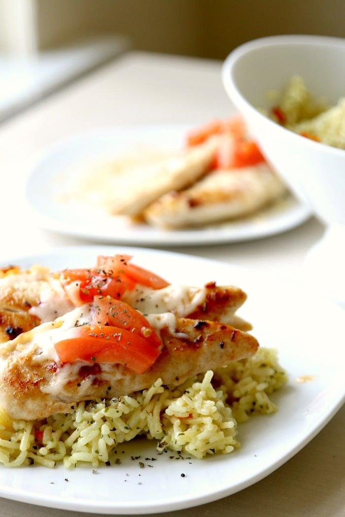 CREAMY BRUSCHETTA CHICKEN with Rice
