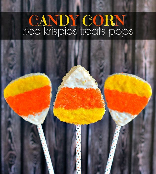 Candy Corn Rice Krispies Treat Pops