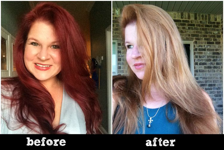 before and after with oops hair color remover