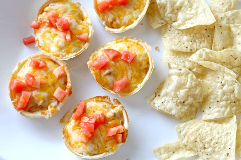 Individual Mexican Dip with Cream Cheese and Beans: Single serve for no double dipping!