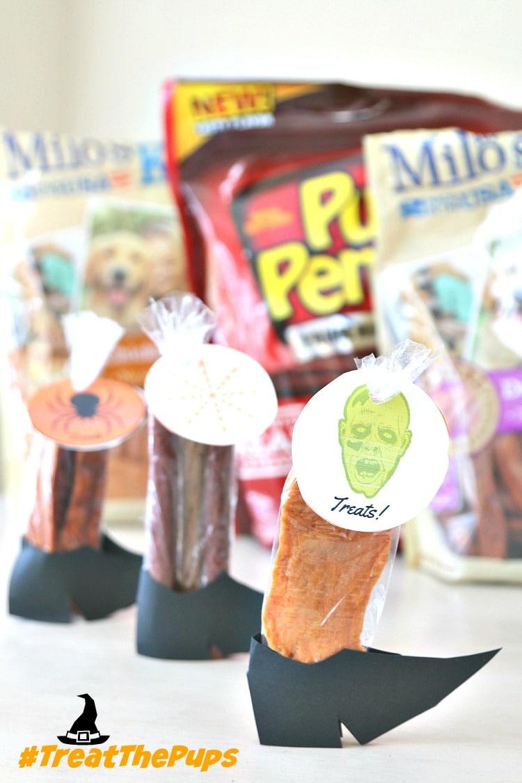 #TreatThePups with a Trick or Treat specifically for the dogs! Make Witch Legs with this Witch Shoe Printable