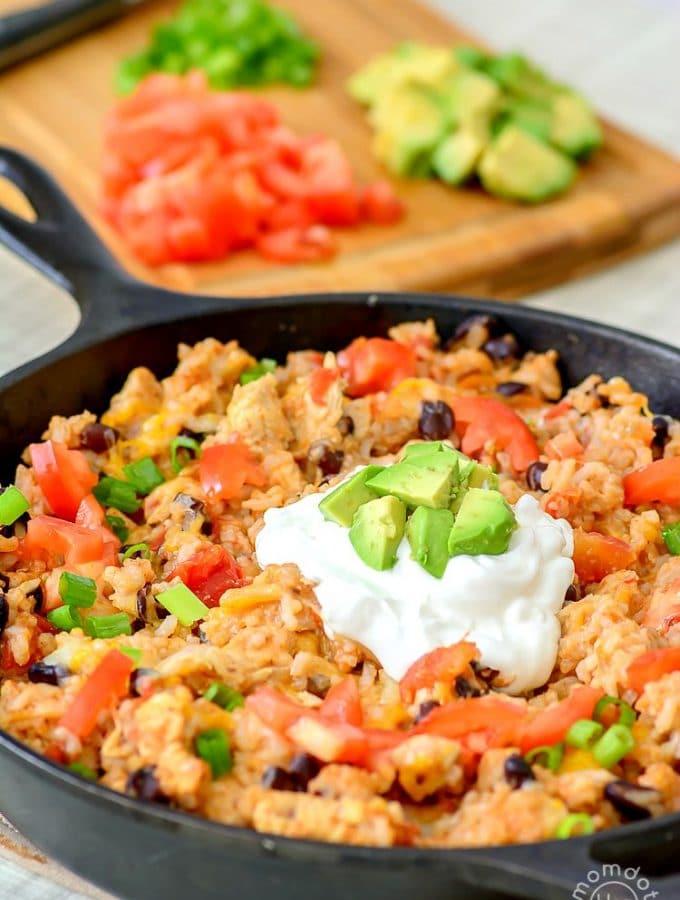 One-Pan Chicken Burrito Bowl