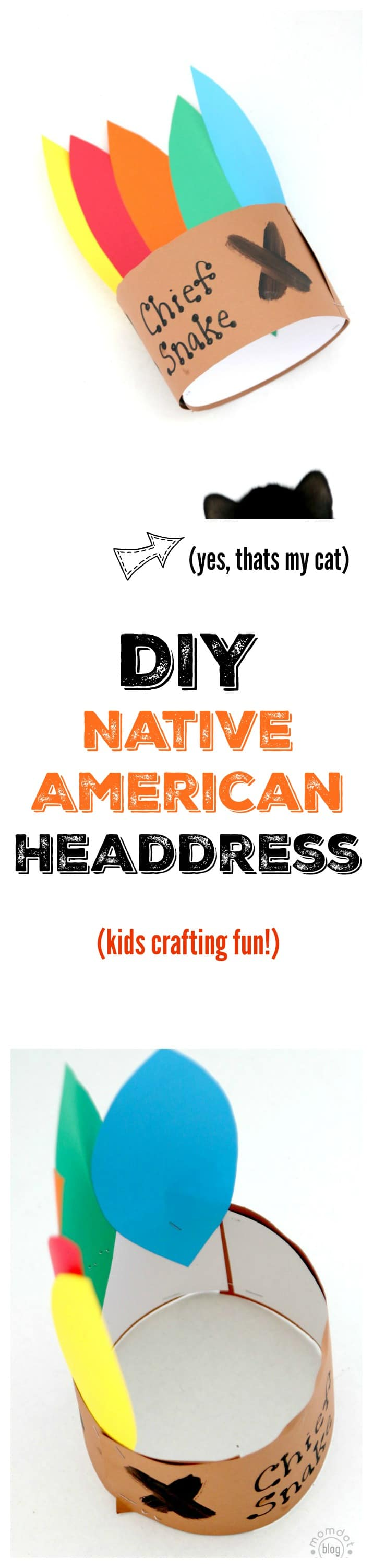 Chief Headdress : Thanksgiving Native American Headband, Practice cutting shapes and let kids name themselves
