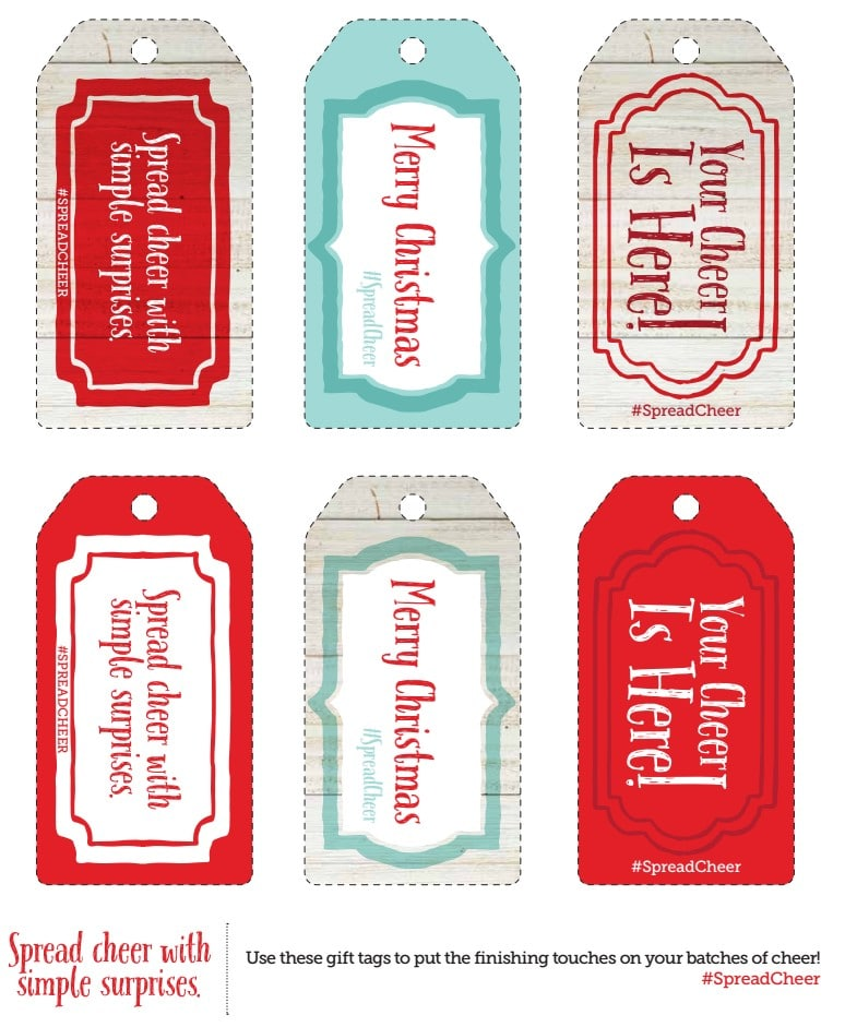 Free Spread the Cheer Tags, perfect for gifting cookies to neighbors!