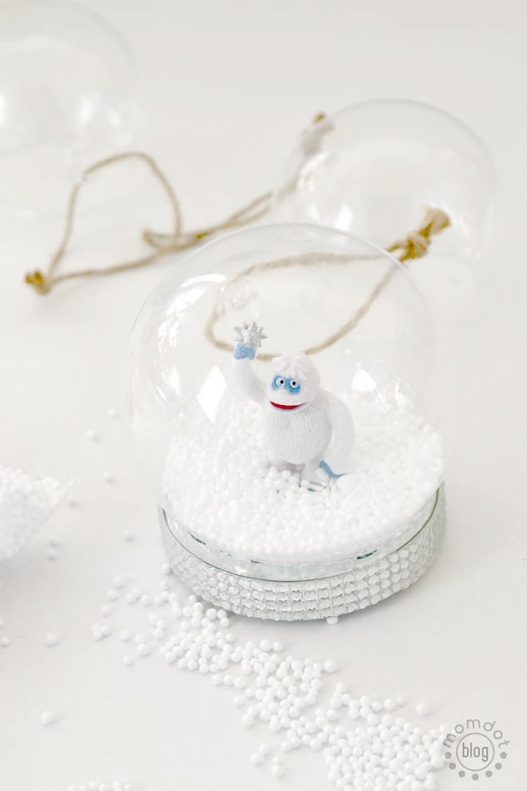 "Create easy Snow Globe ornament decoration ""Rudolph the Red nose Reindeer"" version"
