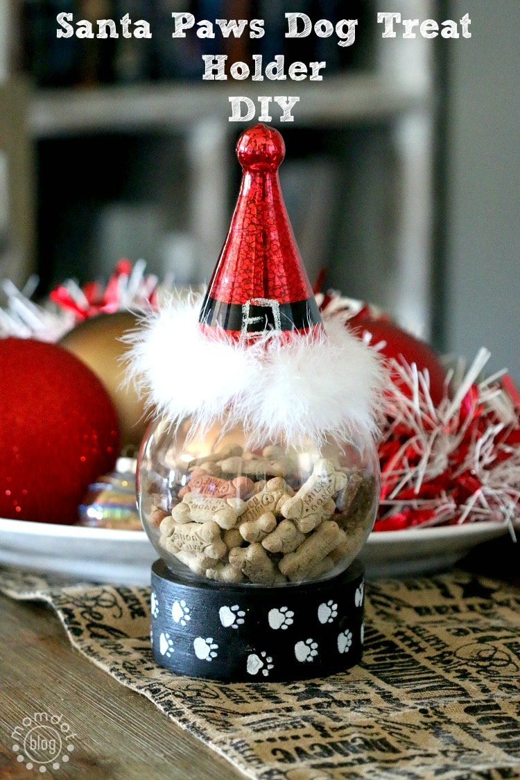 Santa Paws: Decorative Dog treat holder, perfect to keep those treats front and center this holiday - the dog will love you for it! (also great gift)