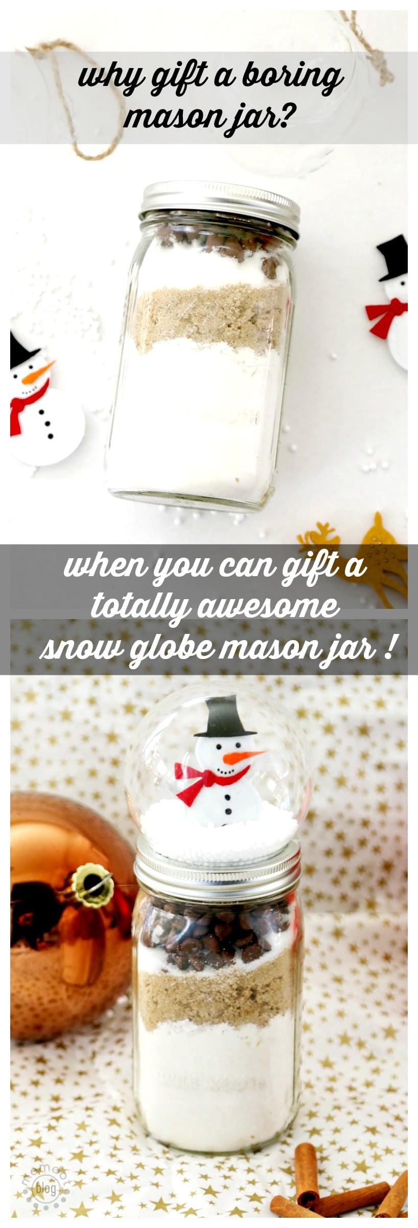Mason Jar Gift? NO. Snow Globe Mason Jar Gift. BETTER. Easy DIY to upsell that gift