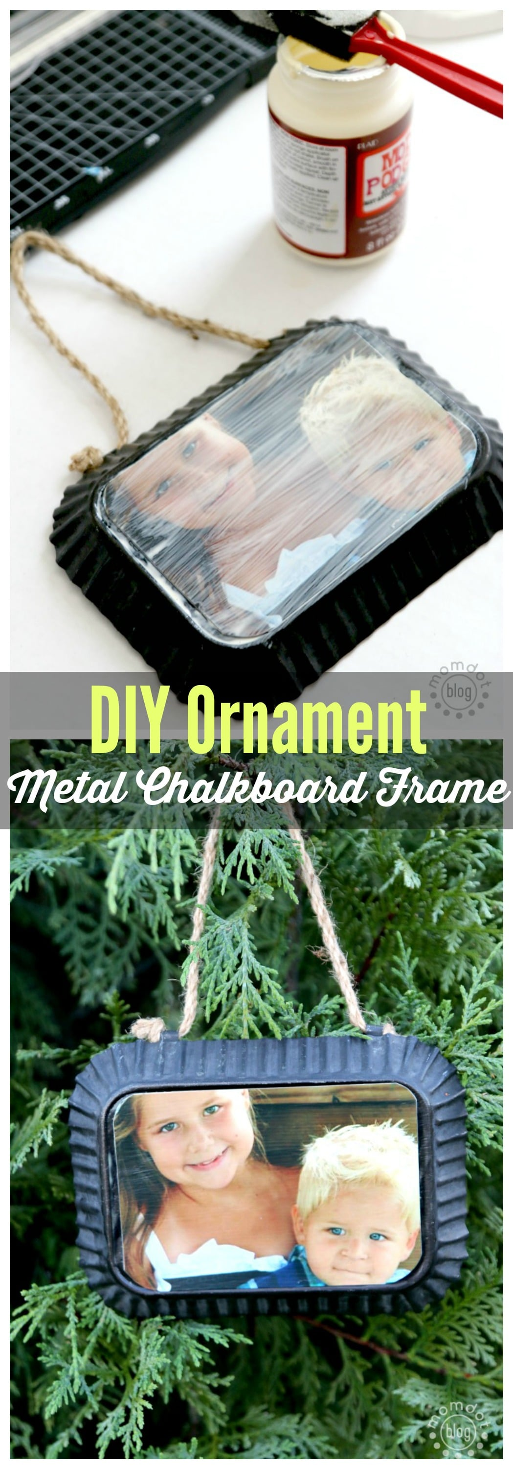Metal Chalkboard Frame DIY Personalized and Homemade Ornament, perfect for Grandma. Takes minutes to make!
