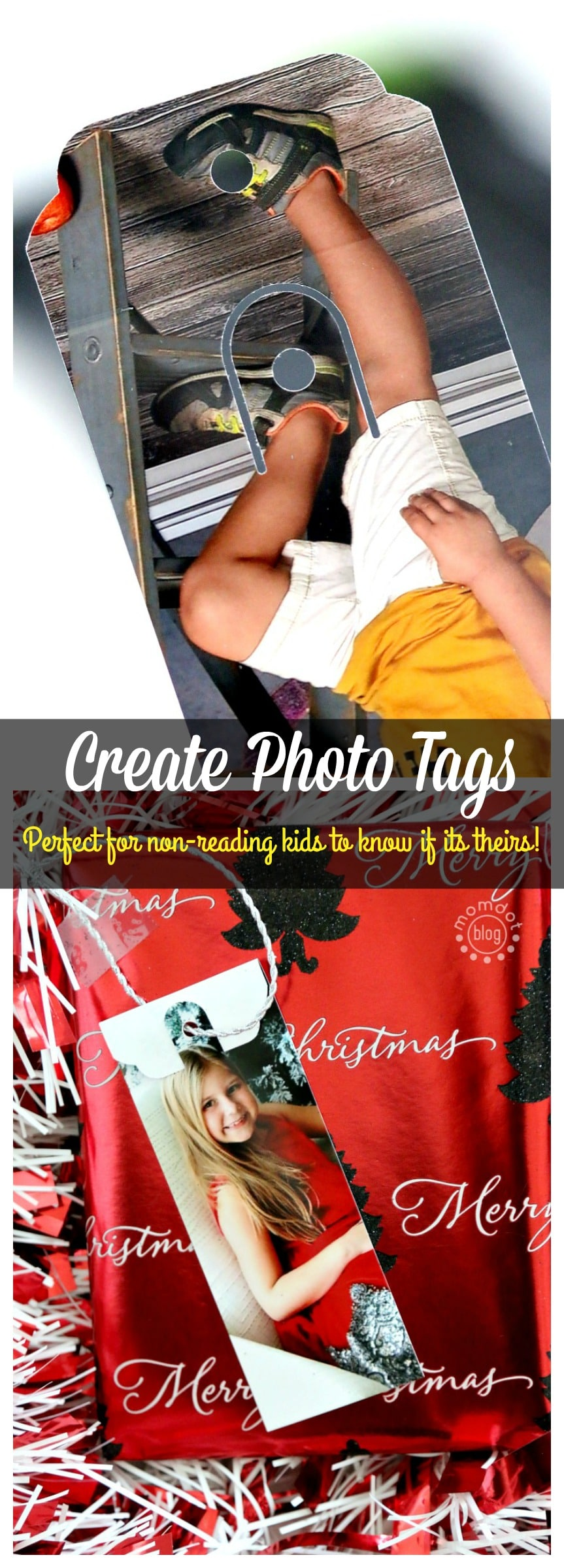 photo tags for non reading kids -do you have kids that want to pass out the presents but cant read? Mark them with photo tags!