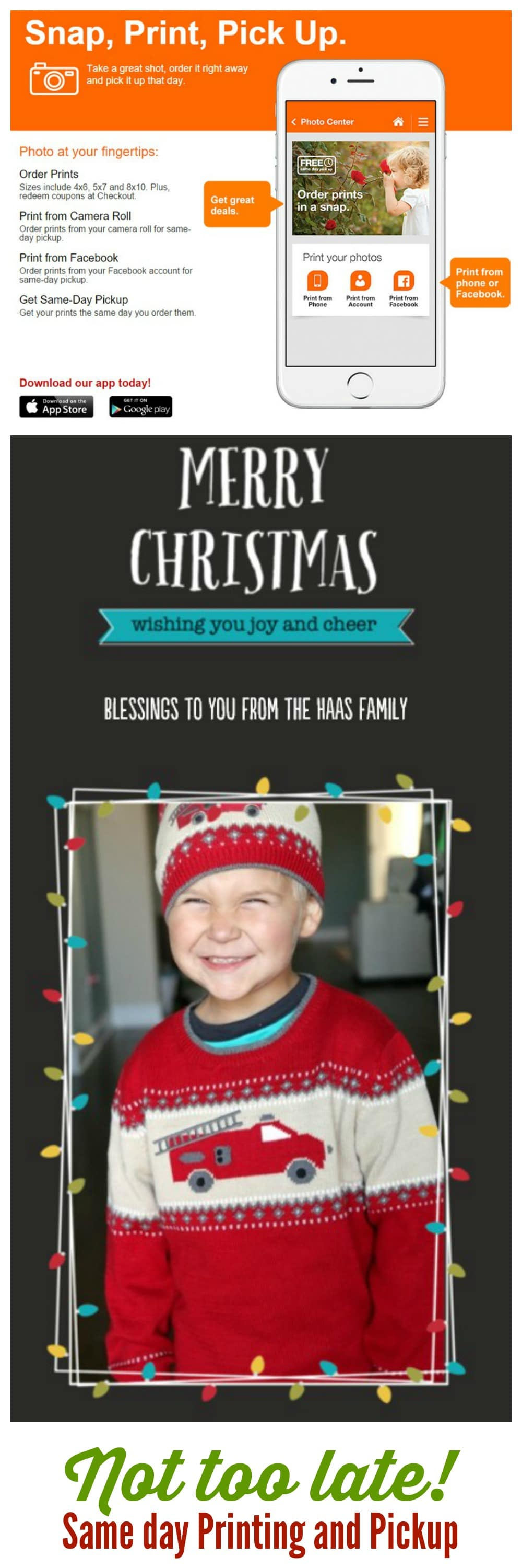 Not too late to get Christmas Cards or photo books! SAME DAY PRINTING AND PICK UP here!