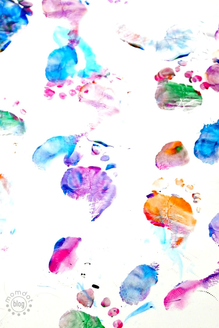 Footprint Art is so fun - you dont need a reason to get messy. Just paint and stomp! Use a large... .
