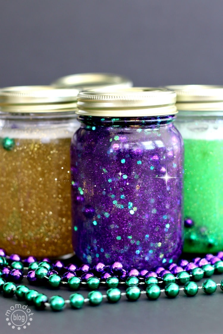 "Calming Jar: Create a Mardi Gras Calm down jar, 3 recipes ideas in this DIY ""sit down"" project"