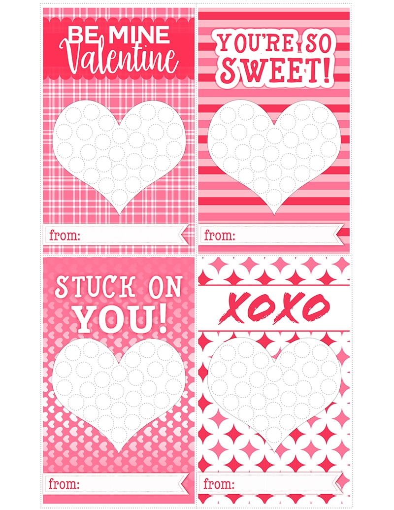 "Free Valentines Day Printable : Add homemade candy dots to our ""stuck on you"" valentines for a personal touch and a bit of nostalgia in the classroom this year- and who doesn't love candy dots!"