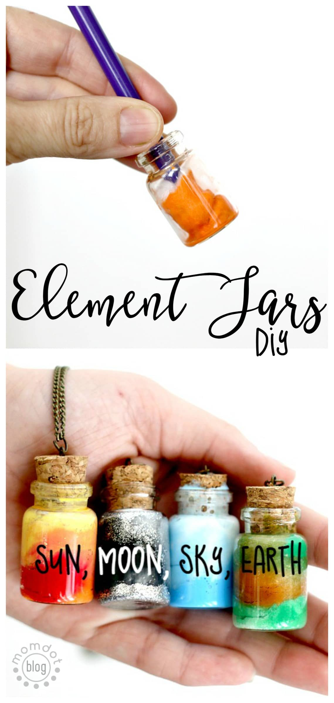 Element Jars: Create Sun, Moon, Earth, and Sky in these fun DIY Element Jar Necklaces Tutorial, picture instructions, Nebula Jar