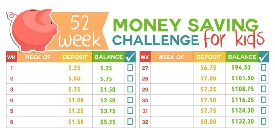 52 Week Money Challenge for Kids