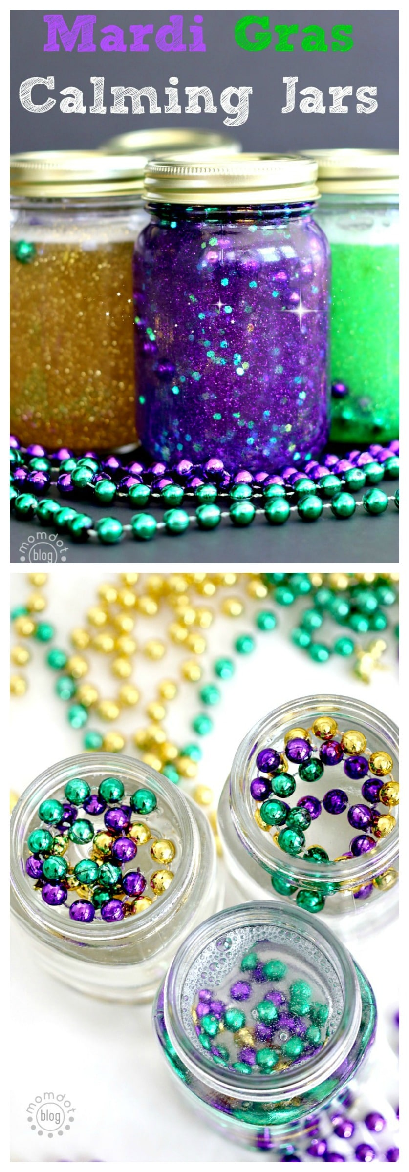 Calm Down Jar: Make a Mardi Gras Calm Down jar with beautiful beads, sit down and have quiet time with discovery, calming and peace