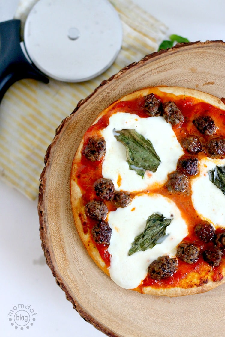 Meatball Pizza with Fresh Mozzarella and basil for a delicious super bowl recipe that everyone will love