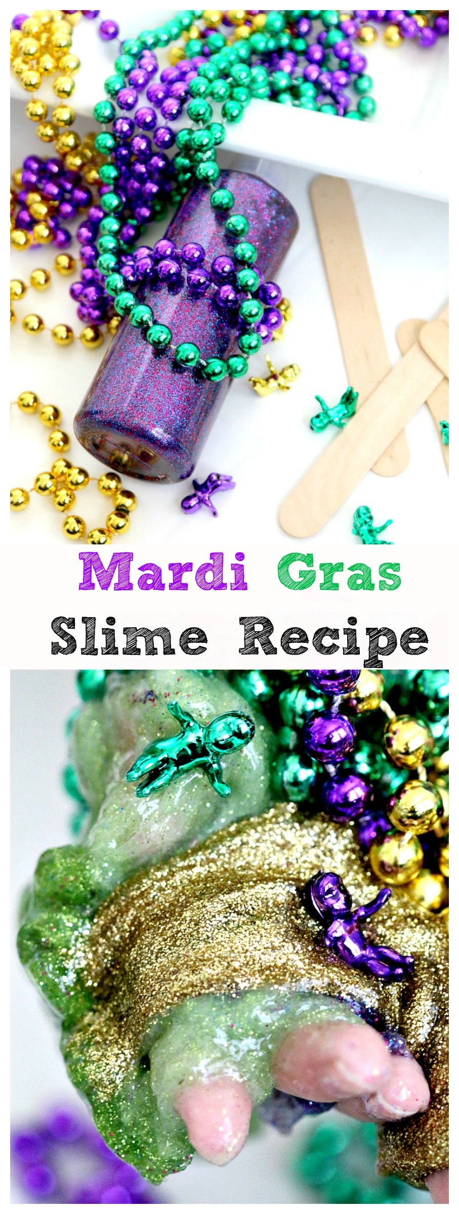 Mardi Gras Slime Recipe: Get messy with this three colored slime