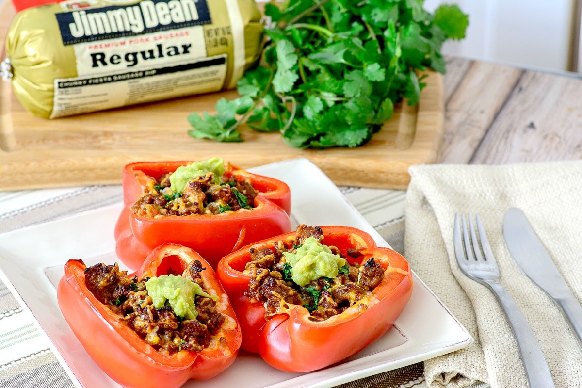 stuffed peppers with sausage, perfect for a twist on Mexican night!