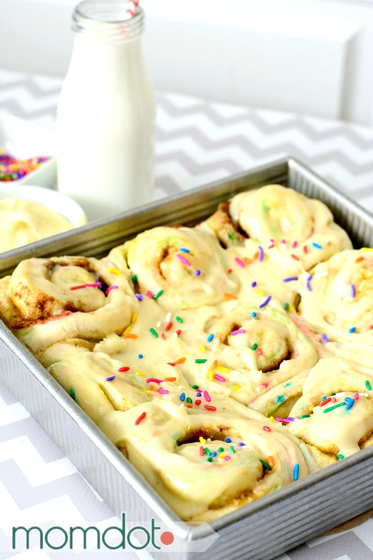 Fairy Cinnamon Rolls: Funfetti Breakfast Roll Recipe, Birthday Breakfast with Cake Frosting!