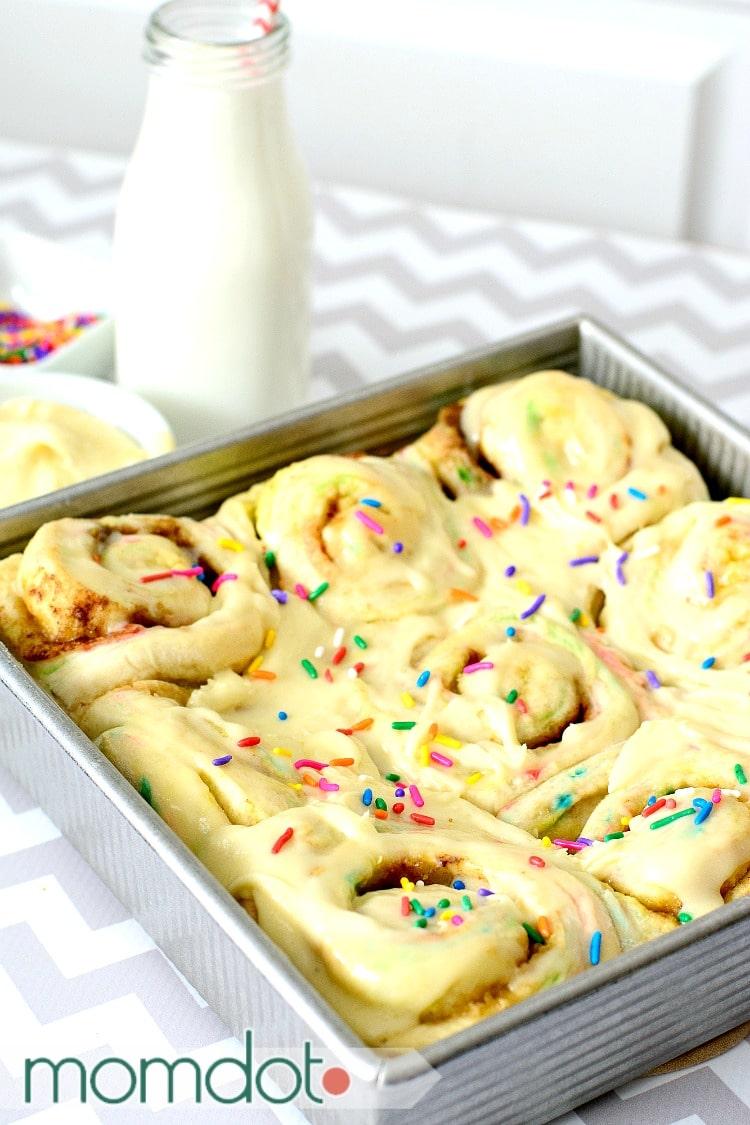 Fairy Cinnamon Rolls: Funfetti Breakfast Roll Recipe, Birthday Breakfast with Cake Frosting!
