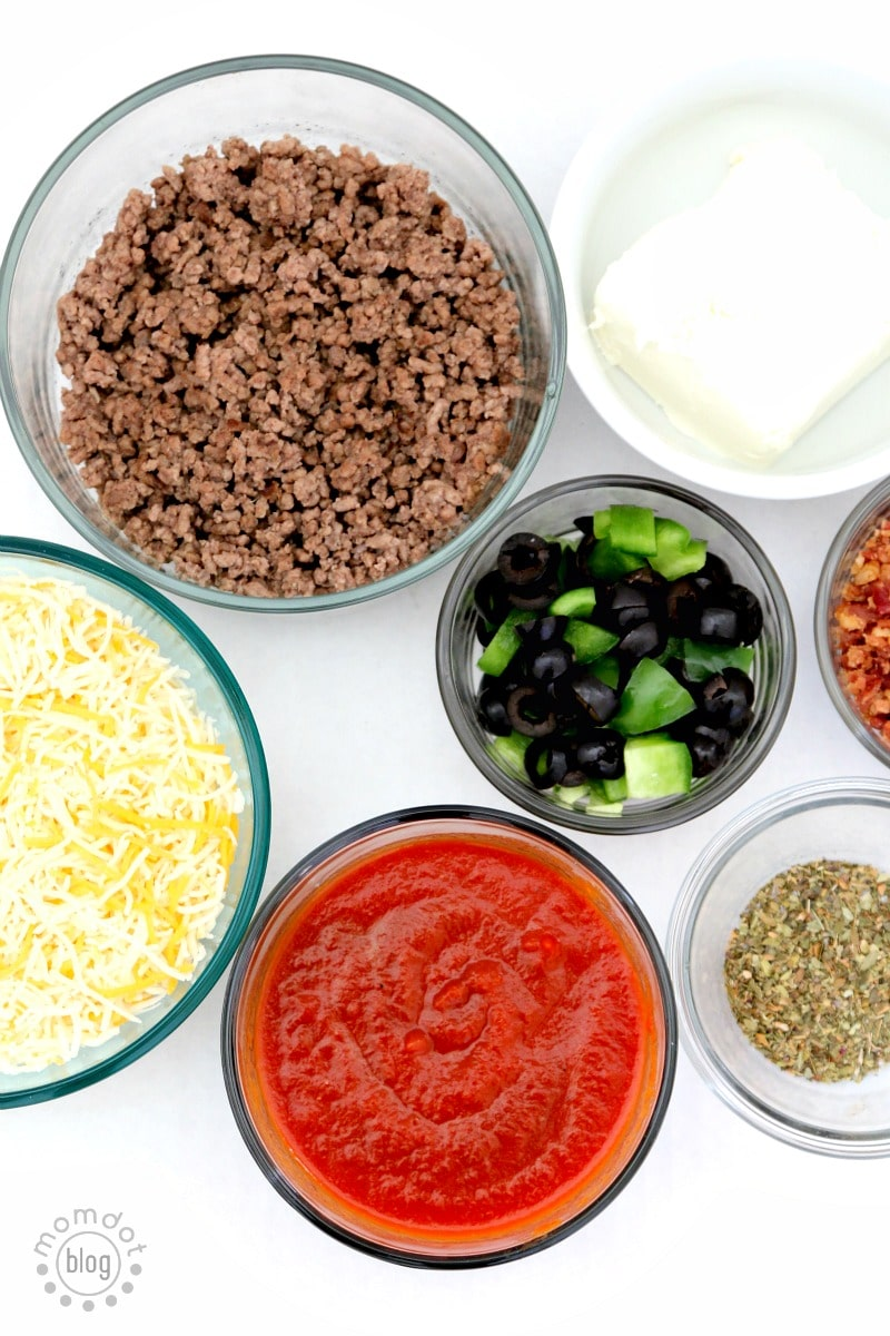Layered Supreme Pizza Dip - ready in minutes and FLAWLESS. Like pizza on a CHIP!