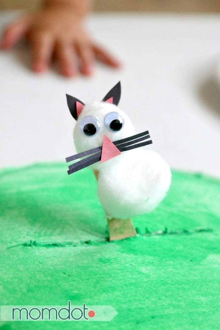 Paper plate craft: Little Bunny Foo Foo stick puppet, walks across his paper plate forest
