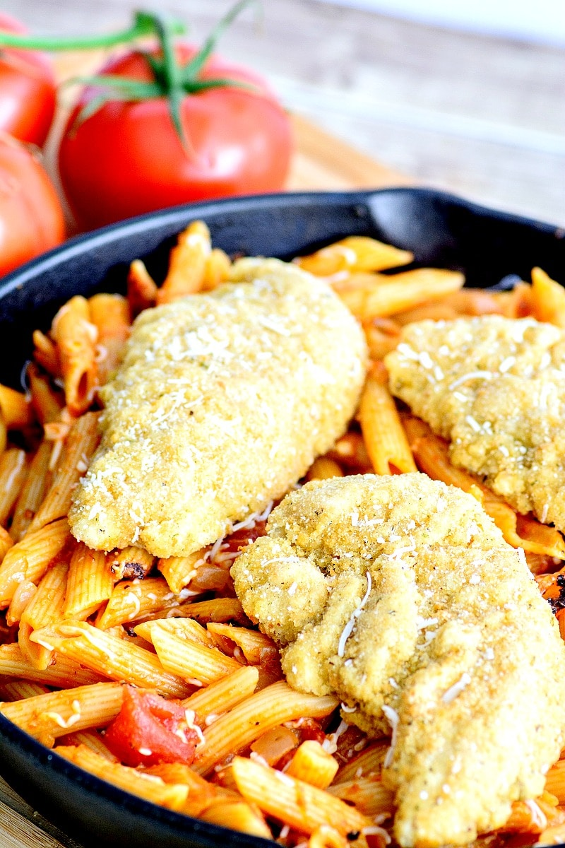 One Skillet Chicken Parmesan Pasta recipe, perfect for busy nights that need a quick meal with NO dishes!