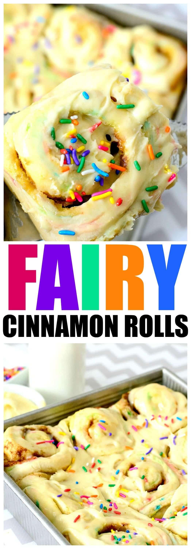 Fairy Cinnamon Roll Recipe: Funfetti Breakfast Roll Recipe for an awesome Birthday Breakfast slathered in delicious Cake Frosting!