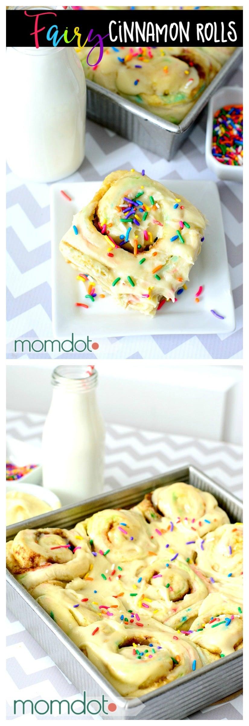 Fairy Cinnamon Roll Recipe: Funfetti Breakfast Roll Recipe, Birthday Breakfast with Cake Frosting!