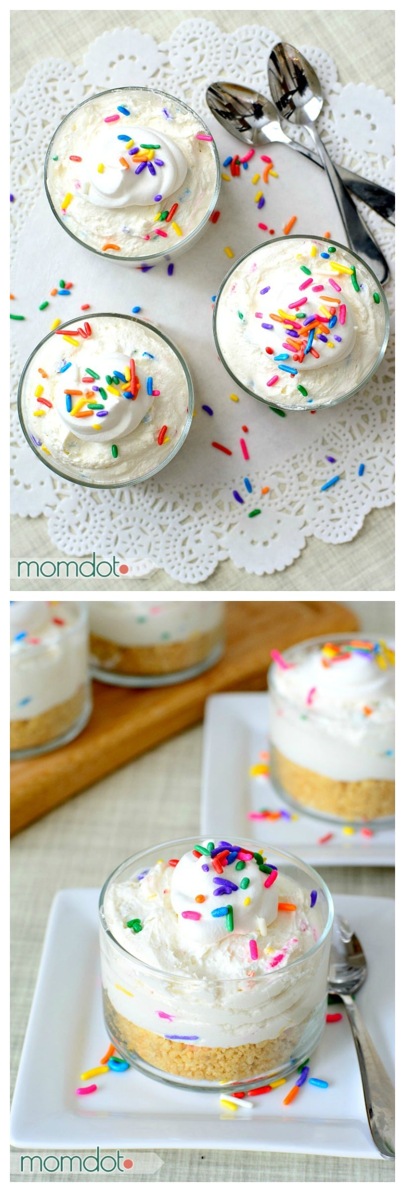 Mini Funfetti Cheesecakes perfect for a decadent sprinkle filled treat : We call them Fairy Cheesecakes