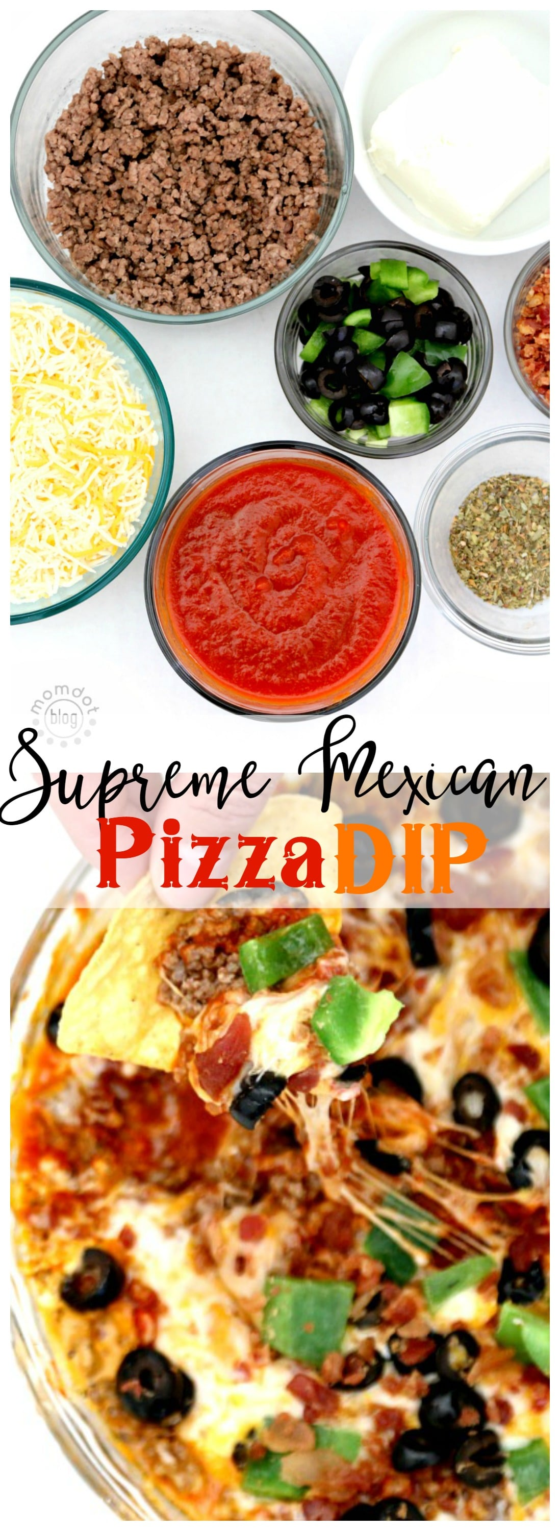 Layered Supreme Pizza Dip - ready in minutes and FLAWLESS. Like pizza on a CHIP! - with video