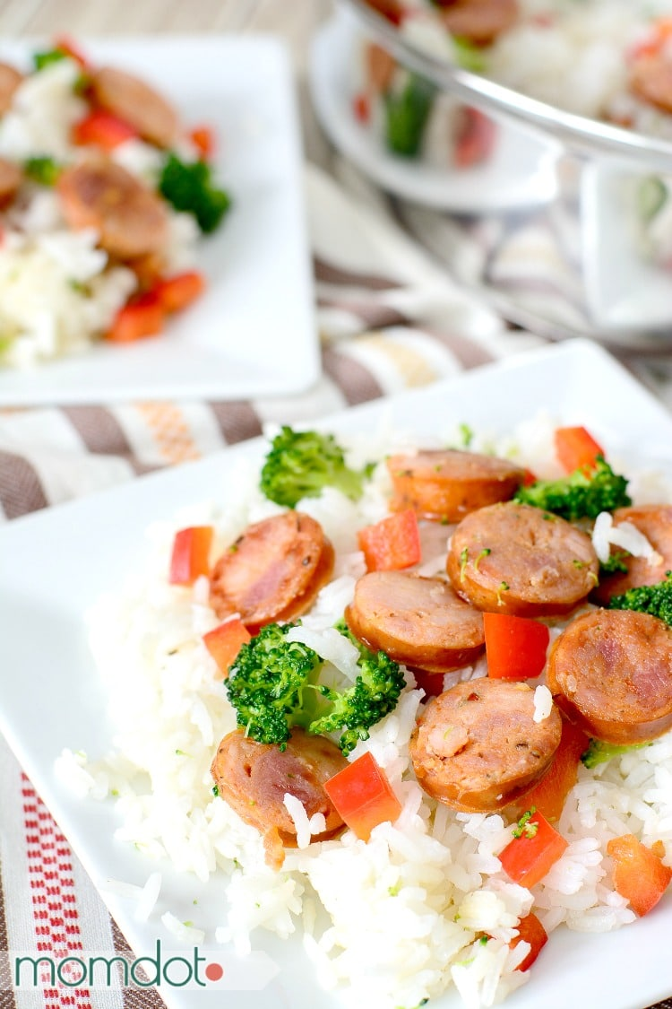 "One Pan Andouille Sausage and Rice, Easy, Quick and perfect for busy families. Ready in under 30 minutes, never feel guilty about a ""quick"" meal again"