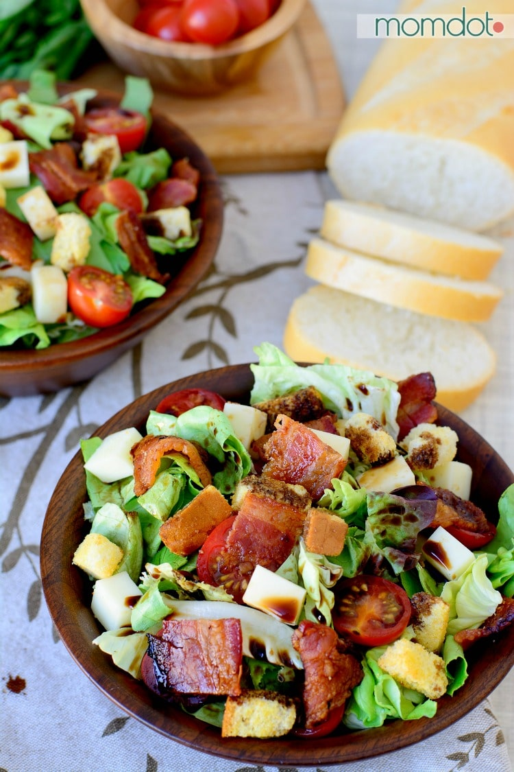 Bruschetta Dinner Salad: A hearty way to get your leafy greens with the right touch of bacon, tomatoes and mozzarella, drizzled with balsamic vinegar
