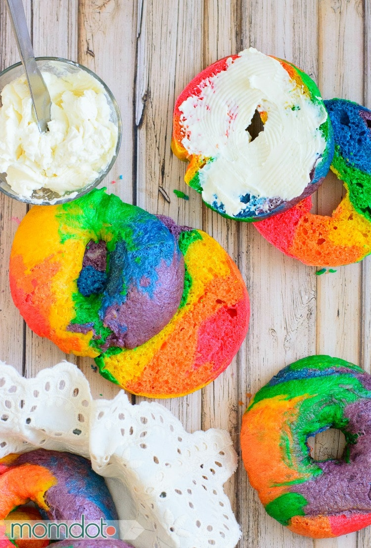 Create Melted Rainbow bagels with this easy to follow recipe tutorial right from your own kitchen .