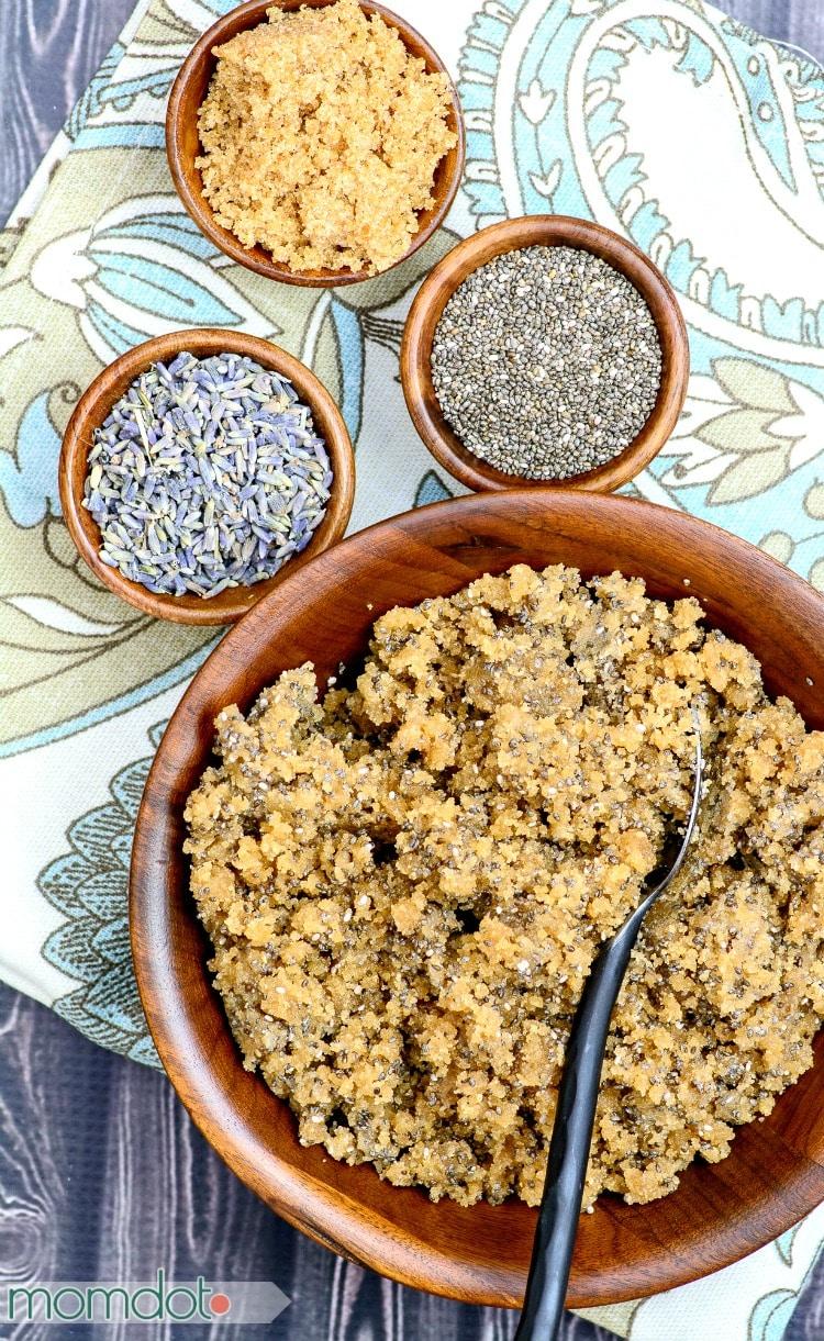 4 Lavender Sugar Scrub Recipe Ideas! Brown Sugar, Lavender and Chia Scrub Recipe: Never buy store bought scrub again!