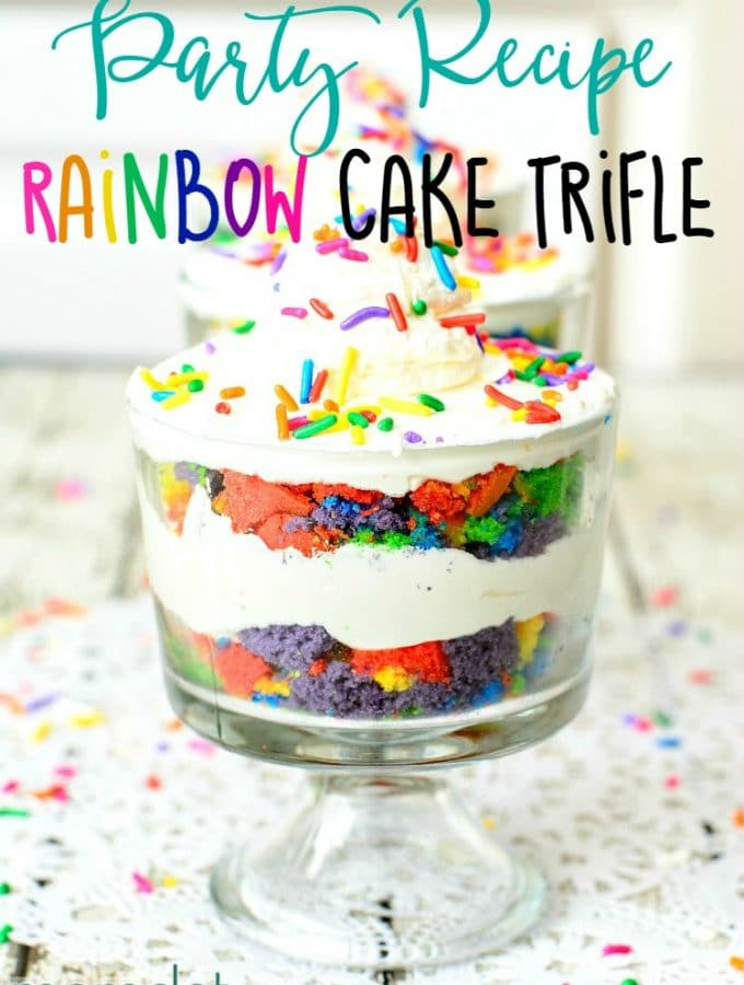 Rainbow Cake Trifle: Kid friendly