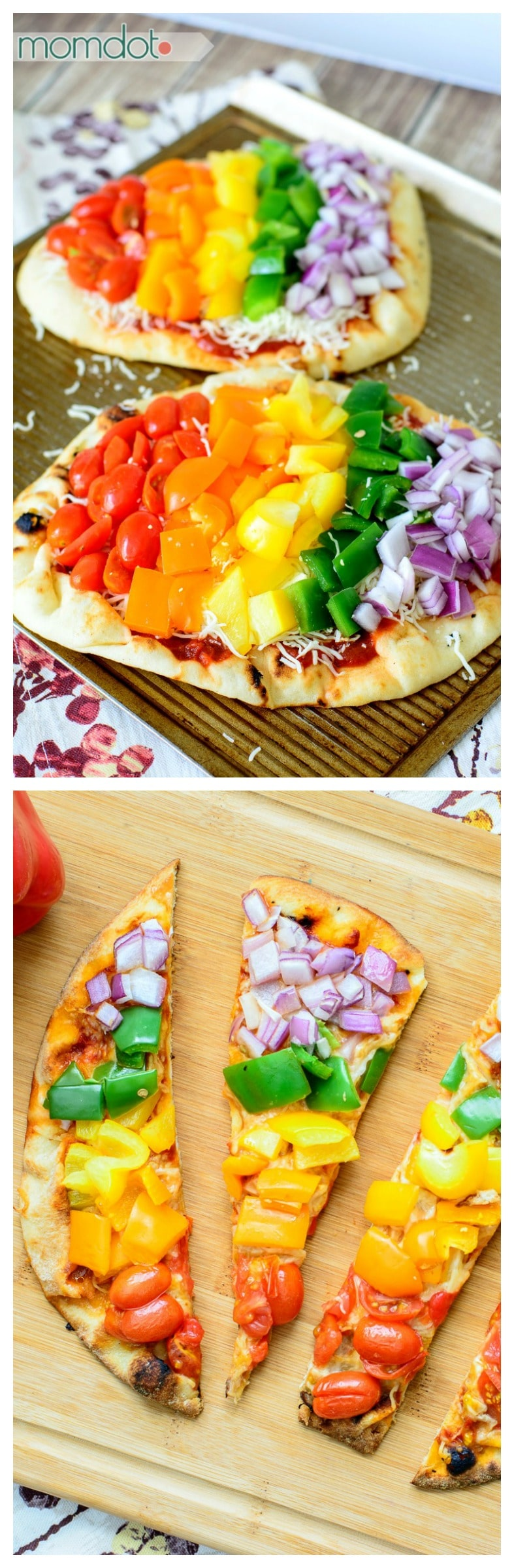 Rainbow Veggie Pizza Recipe - Grab this simple homemade flatbread pizza and thrill your family with a FUN and healthy way to eat dinner! No leftovers here...totally kid friendly.