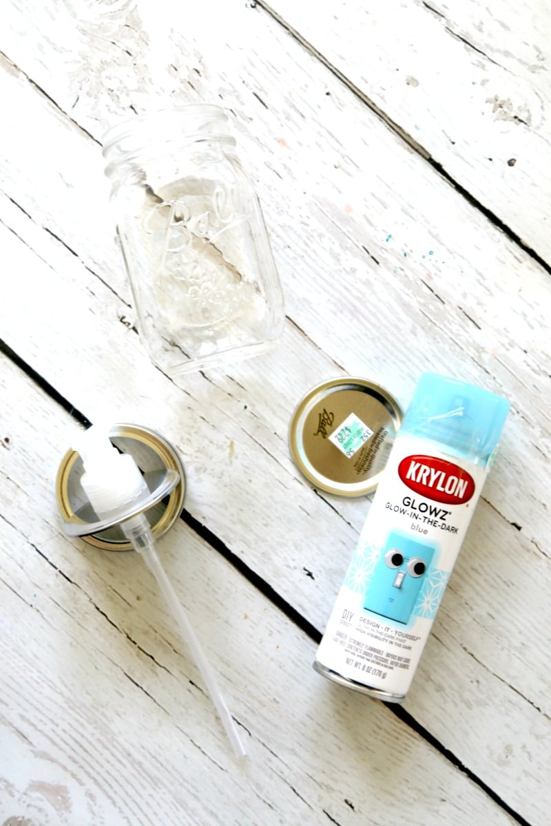Mason Jar Soap Dispensers DIY tutorial, turn your mason jars into Glow in the Dark soap dispensers so you dont have to skip washing your hands on midnight pee pee breaks (im looking at you, 4 year olds)