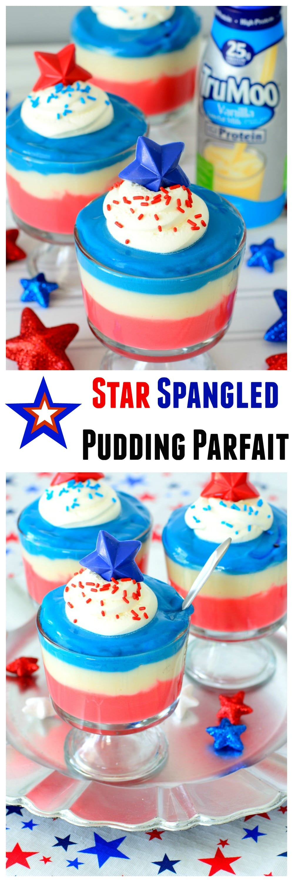 Star Spangled Pudding Parfaits- 4th of July Treat, perfect to celebrate all summer long with this red, white, and blue stunning dessert recipe
