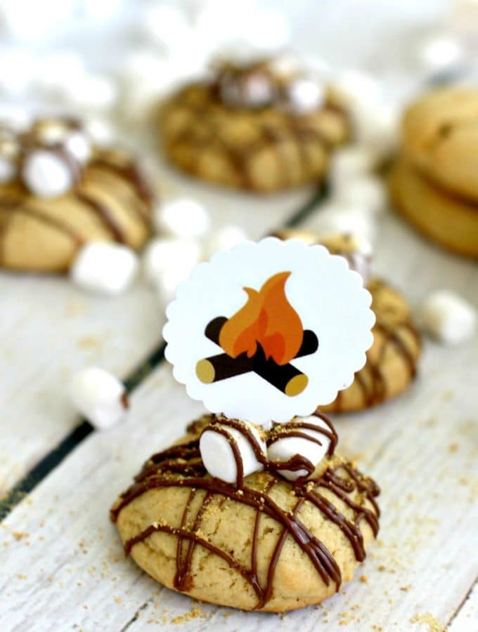 Campfire Cookie + Free Printable Cookie Topper
