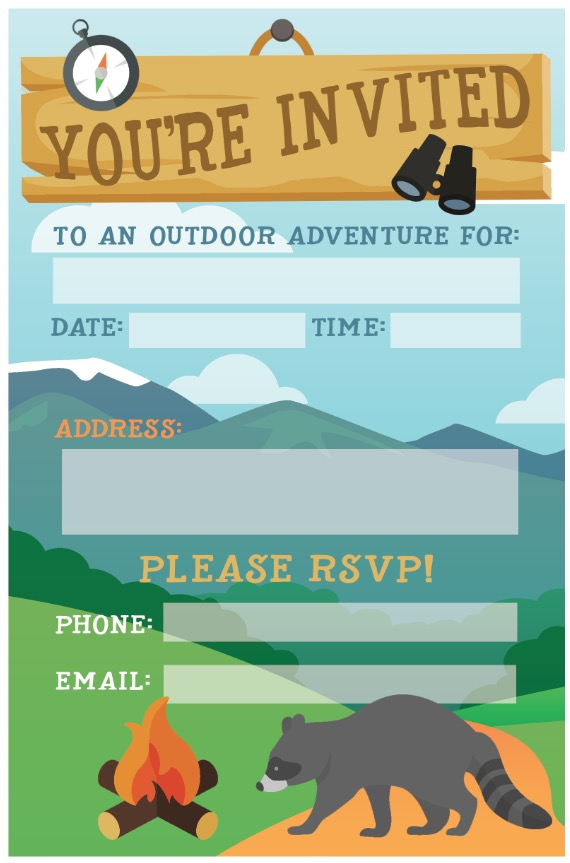 Camping Birthday Party Invite: Free Printable -