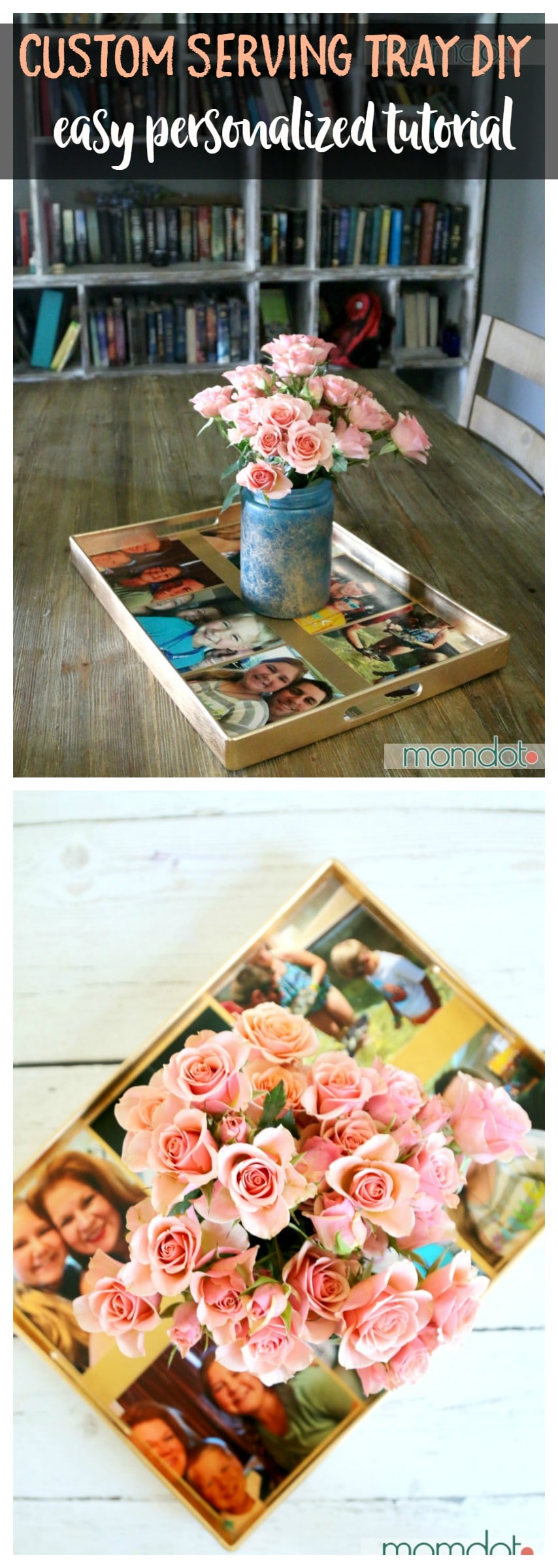 How To take an ordinary tray into a custom photo serving tray for a centerpiece or gift in under 5 minutes - . Plus bonus tutorial included on how to marbelize a vase (all great gifts for mom!)