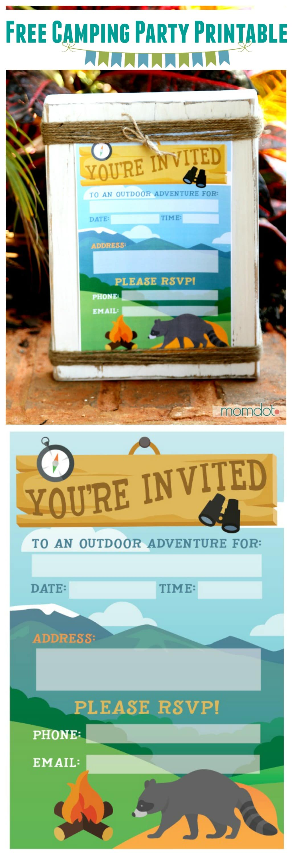 Camping Birthday Party Invite (or any Party Invite) FREE PRINTABLE, plus more free camping printables