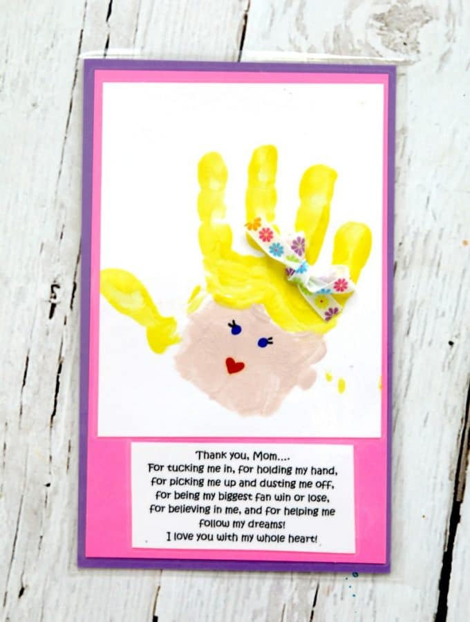 Mothers Day Handprint art, frame and give to mom this mothers day