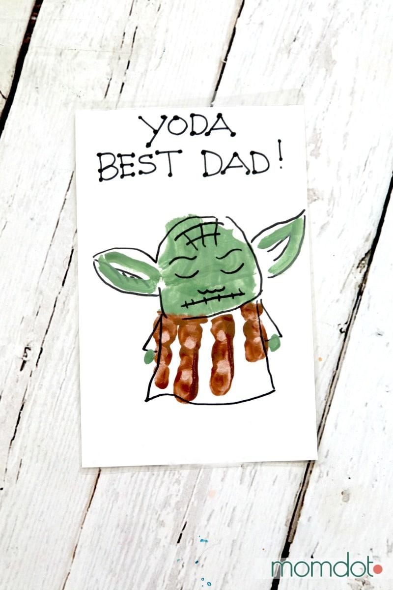 Yoda Man Fathers Day Handprint Gift card