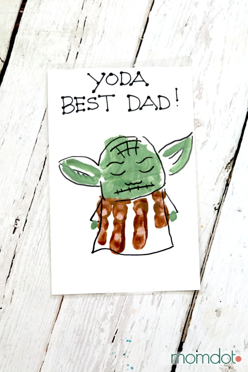 Yoda Best Dad Hand Print Card -