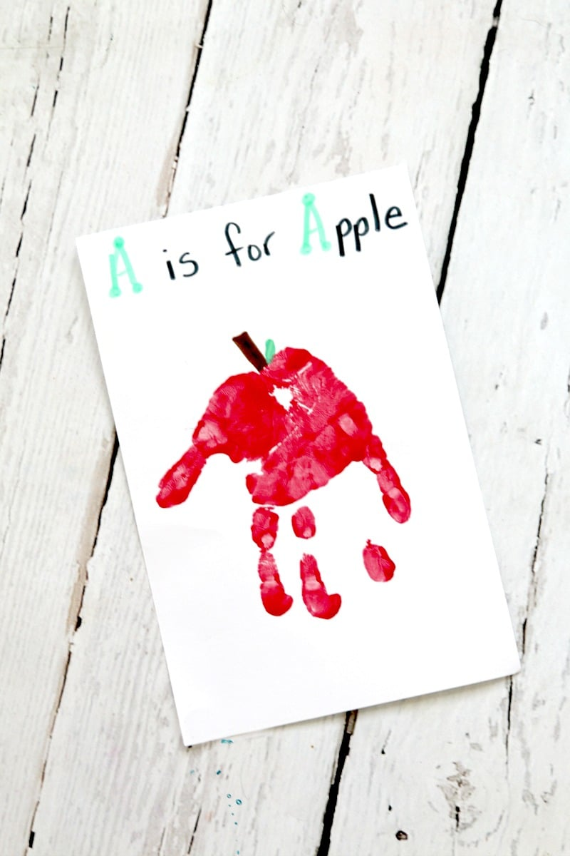 Apple Hand Print Card