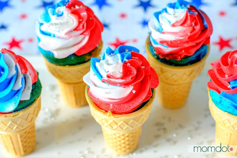 Star Spangled Cupcake Cones; Cupcakes perfect for a Patriotic Party and so easy to look Spectacular!